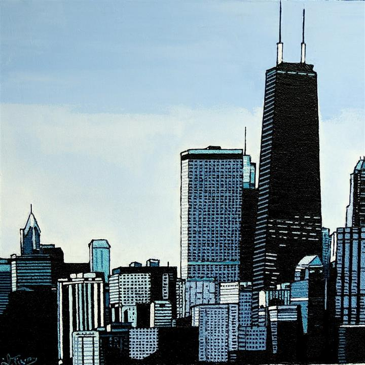 Chicago - Willis tower - Acrylique 70 X 70 - Mars 2020
